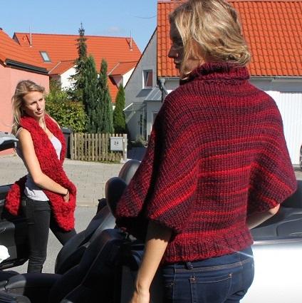 Poncho rot und Taschenschal 2
